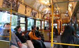 inside a Melbourne City Circle Tram