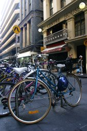 Bikes in Flinders Lane Melbourne