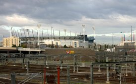 MCG Melbourne from rail lines