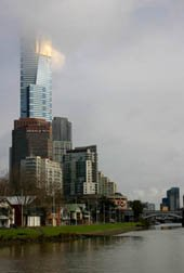 The changable weather Melbourne is famous for on the Eureka tower.